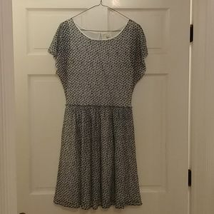 Anthropologie blue and white polka dot dress